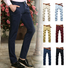 New Mens Cotton Slim Fit Straight Leg Trousers Flat Front Casual Business Pants