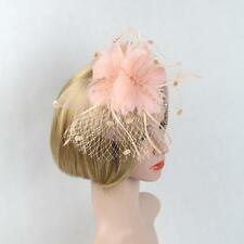 Kentucky Women Derby Feather Fascinator Veil Headpiece Wedding Party Headband