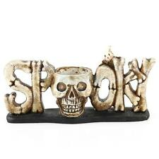 Resin Skull Head Tealight Candle Holder Tabletop Halloween Decor Gift 2 Colors