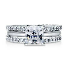 BERRICLE Sterling Silver Princess CZ Solitaire Engagement Ring Set 2.7 Carat