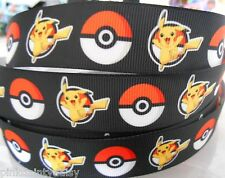 """POKEMON PIKACHU  characters Grosgrain Ribbon 1""""   Cake Clips Cards  2 yds 5 yds"""