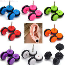 2pcs Cheater Faux Fake Ear Plugs Gauges Tapers Barbell Fashion Earrings Jewelry