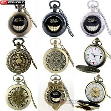 Vintage Necklace Alice In Wonderland Quartz Pocket Retro Watch Pendant Xmas Gift