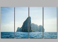 XL Rocky Island Deep Blue Sea Ocean 4 Panel Split Canvas Picture Wall Art