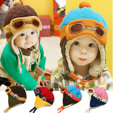 Kids 1-4 ages Boy Girls Winter Warm Earflap Pilot Aviator Cap Soft Beanie Hat