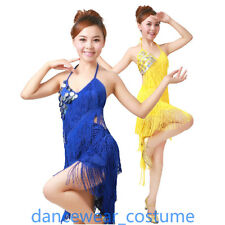 Ballroom Latin Salsa Dance Dress Ladies Performance Fringe Tassel Skirt 7Colors