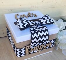wedding card box with chevron and ribbon (black and white)