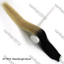 20PCS PU Seamless Skin Tape In Ombre Remy Human Hair Extensions Straight  T1/613