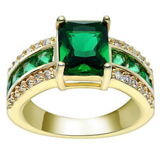 Fashion Green Glass Quartz Band Ring Rhinestone Plated  Ring Finger Jewerly Gift