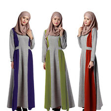 AU Muslim Women Long-sleeve Maxi Dress Kaftan Abaya Islamic Arab Lady Robe Gown