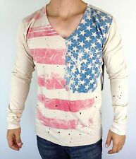 ROCKSTAR AMERICAN FLAG STARS MEN T SHIRT V NECK TEE long sleeve