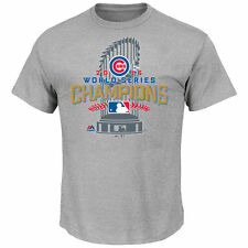 Chicago Cubs Majestic 2016 World Series Champions Locker Room T-Shirt - Gray