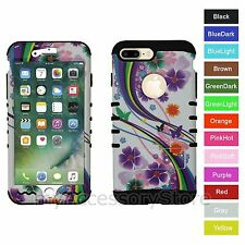 For iPhone 7+ Plus Flower Butterfly Rainbow Hybrid Hard&Rubber Rugged Case Cover