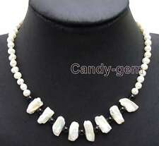 6-7mm White pearl & 12-15mm Biwa Natural Pearl 6mm Black Agate 17 Necklace-6125