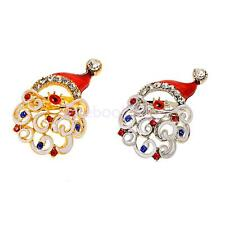 Crystal Rhinestone Enamel Santa Claus Brooch Pin Wedding Jewelry Christmas Gift