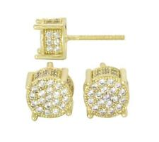 8mm Round 14k or Silver Tone MicroPave Cz Bling Screw Back Hip Hop Stud Earrings