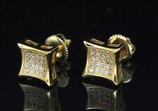 8mm Concave Kite 14k or Silver Tone MicroPave Cz Bling Hip Hop Stud Earrings