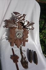 VINTAGE OLD GERMANY BLACK FOREST CUCKOO CLOCK WITH CHAINS WEIGHTS PENDULUM
