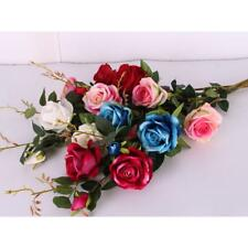 Fake 3-Head Rose Artificial Silk Flower Wedding Party Bridal Home Decor 6 Colors