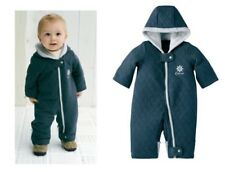 New BABY BOY TODDLER QUILTED SNOWSUIT WINTER SUIT JACKET WARM ONE PIECE NAVY