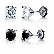 Stainless Steel Jewelry Zircon Inlaid Studs Earrings for Men and Women Ear Plugs