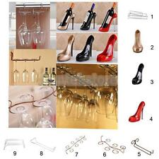 Stainless Steel Wine Glass Cup Rack+Resin High Heel Wine Bottle Champagne Holder