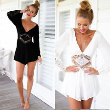 Sexy Womens Backless V-neck Chiffon Hollow Lace Jumpsuit Romper Shorts Pants