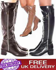 New Womens Knee High chunky heel ladies Riding Boots Brown Faux Leather Black