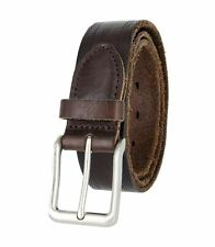 """Tulliani 1-3/8"""" Wide Traspirante Perforated Tooled Casual Leather Belt Brown"""