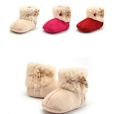 Toddler Baby Girl Fur Fleece Warm Winter Boots Sole Crib Shoes Size 0-18Months