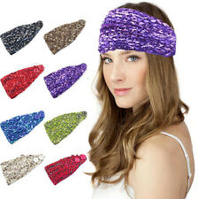 Women Ladies Warm Crochet Knitted Button Colorful Turban Headband Hair Band
