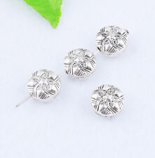 Silver 925 Spacer Charm Sided Bead Metal Jewelry Finding 10x5mm Pretty Retro Hot