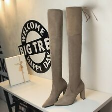 New Block High Heel Suede Long Over Knee Thigh High Boot Pointed Toe Women Shoes