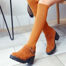 Womens Faux Suede Stretchy Chunky Heels Platform Winter Shoes Knee High Boots sz