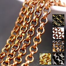 15ft Bronze Copper Black Silver Plated 2mm Small Rolo Link Chain Necklace Findin