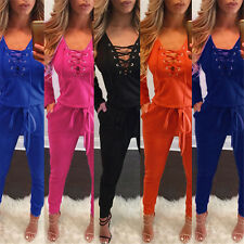 New Woman's Lace Up Deep V Long Jumpsuits Rompers Bodysuits Playsuits Catsuits B