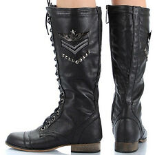 Women's Leather Knee High Riding Miltary Combat Lace and Zip Up Boots Decor
