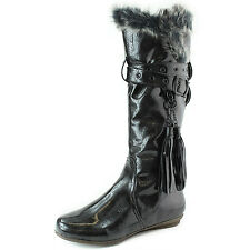 Women's Warm Fur Lined Long Length Faux Fashion Leather Boots Buckle Detail