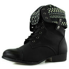 Lace Up Fold Over Round Toe Military Combat Boot