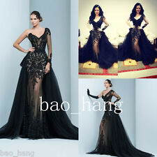 Black Prom Evening Party Dress Detachable Train One Sleeve Formal Celebrity Gown