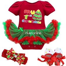 My First Christmas Baby Girls Newborn Romper Dress Tutus Outfit Set 3pcs Clothes