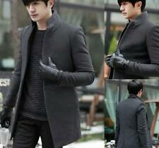 Mens Fashion Slim Fit Wool Blend Trench Coat Korean Jacket Outwear Overcoat Size