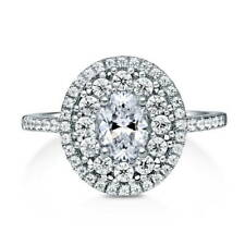 BERRICLE Sterling Silver Oval Cut CZ Halo Flower Engagement Ring 1.4 Carat