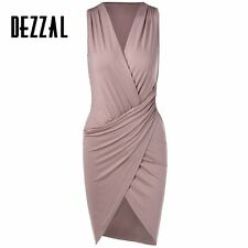 DEZZAL Elegant Women V Neck Sleeveless Bodycon Mini Dress Sexy robe femme Chic P