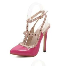 Hot Women Pumps Ladies Sexy Pointed Toe High Heels Fashion Buckle Studded Stilet