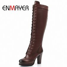 ENMAYER Winter Boots Shoes Woman High Quality Sexy  Women Thigh High Boots Lace