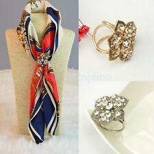 Silver/Gold Plated Crystal Silk Scarf Clip Buckle Holder Brooch Pin Jewelry Gift