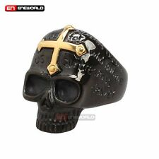 Punk Gothic Rock Stainless Steel Gold Black Skull Cross Mens Ring Jewelry Band