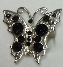NEW BUTTERFLY RHINESTONE SILVER PLATED RING FASHION JEWELRY STRETCH ELASTIC BAND