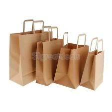 10pcs Brown Kraft Paper Candy Food Gift Bags Shopping Carrier Bag Flat Handle